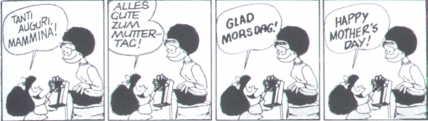 Mafalda: Dia das Mães em diversas línguas